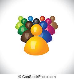 オフィス, 政治的である, graphic., メンバー, 共同体, サイン, スタッフ, &, 勝者, -, チーム, また, 従節, リーダー, 3d, カラフルである, イラスト, リーダーシップ, 表す, これ, 従業員, アイコン, ∥あるいは∥, ベクトル, 敗者