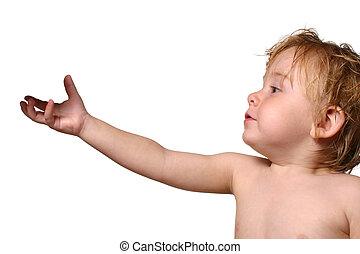オブジェクト, よちよち歩きの子, 手を伸ばす