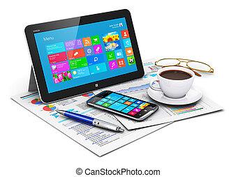 オブジェクト, コンピュータ, タブレット, ビジネス