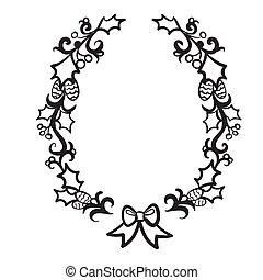 オブジェクト, 背景, ベクトル, 新しい, 花輪, 装飾, 隔離された, イラスト, 装飾用である, 白, 年
