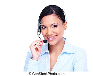 オペレーター, woman., 呼出し 中心, ビジネス