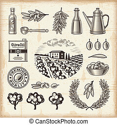 オリーブ, 型, セット, 収穫