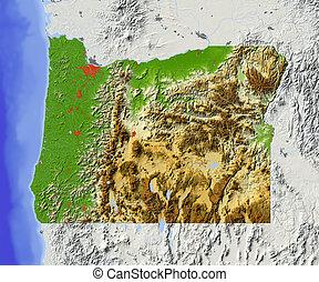 オレゴン, 地図, 影で覆われる, 救助