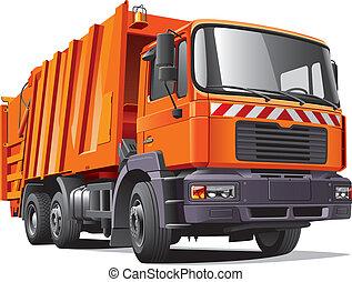 オレンジ, トラック, ごみ