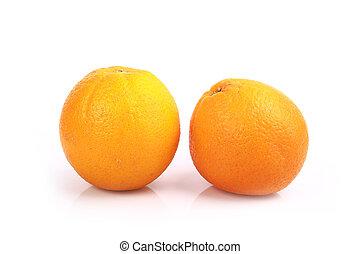 オレンジ, バックグラウンド。, 白, フルーツ, 隔離された