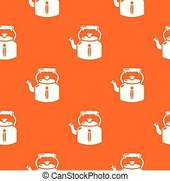 オレンジ, パターン, ベクトル, 古い, やかん