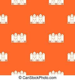オレンジ, パターン, 城, ベクトル, 古い