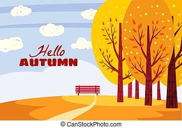 オレンジ, ベンチ, こんにちは, 秋, 自然, 木, イラスト, 景色。, park., 熟視, 黄色, 隔離された, 紅葉, ベクトル, 孤独