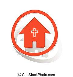オレンジ, 家, ステッカー, キリスト教徒, 印