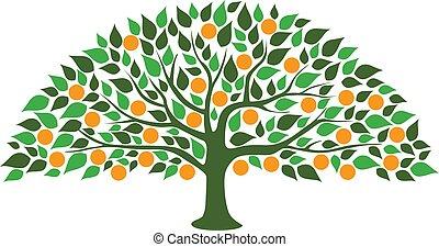 オレンジ, 抽象的, 木