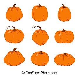 オレンジ, 秋, セット, 感謝祭, ベクトル, カボチャ, 平ら