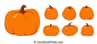 オレンジ, 秋, ベクトル, カボチャ, 感謝祭, 平ら, セット