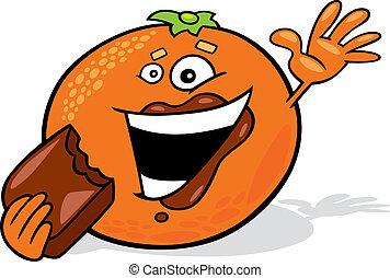 オレンジ, 食べること, 漫画, チョコレート