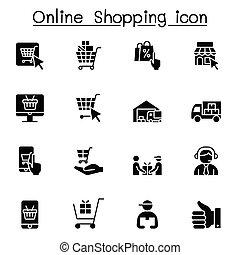 オンラインで, アイコン, デザインを設定しなさい, グラフィック, 買い物, ベクトル, イラスト