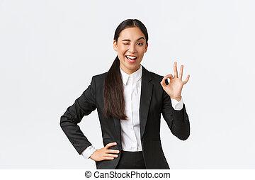 オーケー, ジェスチャー, 下に, 強引である, 地位, 得られた, 制御, ウインク, 若い, 励ましなさい, 仕事, ∥あるいは∥, ジェスチャー, 承認, ショー, 取引, よい, 喜ばせられた, 女性実業家, 仕事, アジア人, 確信した, される, すてきである, すべて