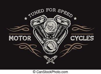 オートバイ, style., エンジン, 型