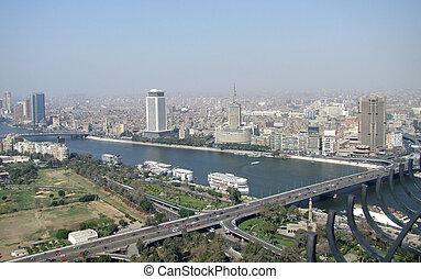 カイロ, 川, 航空写真, ナイル, 光景