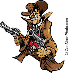 カウボーイ, 漫画, 狙いを定める, 銃, マスコット