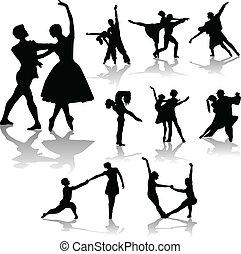 カップル, 集めなさい, シルエット, ダンス