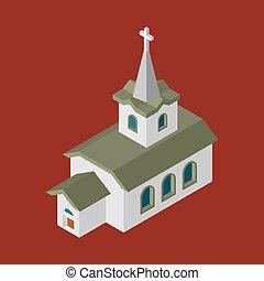 カトリック教, キリスト教徒, 家, religion., イラスト, ベクトル, 教会, isometrics