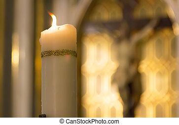 カトリック教, キリスト, 燃焼, 中, 白, の後ろ, 教会, ろうそく, 飾られる, イメージ