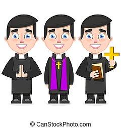 カトリック教, スタイル, セット, 司祭, イラスト, ベクトル, 漫画