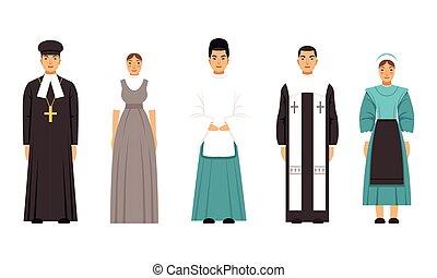 カトリック教, 司祭, 司祭, mormon, 人々, ベクトル, 神道, イラスト, 衣服, コレクション, mennonite, amich, 特徴, ∥あるいは∥, 伝統的である, 宗教