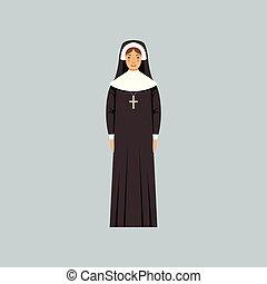 カトリック教, confession, イラスト, 修道女, ベクトル, 代表者, 宗教