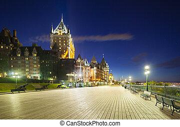 カナダ, 都市, frontenac, ケベック, 城, 夜