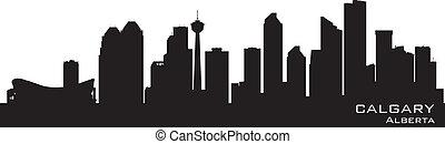 カナダ, calgary, 詳しい, シルエット, skyline.