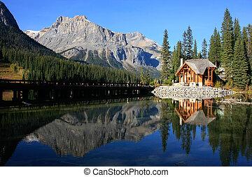 カナダ, yoho, 木製の家, 国立公園, 湖, エメラルド