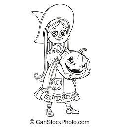 カボチャ, 保有物, にやにや笑い, 魔女, 衣装, 女の子, 大きい, 刻まれた, かわいい, 概説された, ページ, 着色