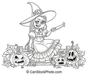 カボチャ, 概説された, 魔女, ナイフ, 女の子, 切口, フェンス, ランタン, かわいい, 衣装, ページ, モデル, 着色