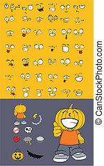 カボチャ, halloween1, 漫画, 子供