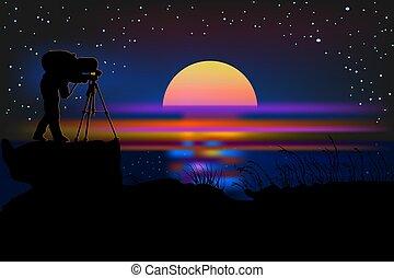 カメラマン, 夜, シルエット, バックグラウンド。, カメラ