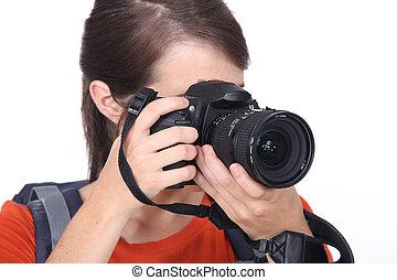 カメラ, クローズアップ, 女
