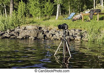 カメラ, 湖, 三脚