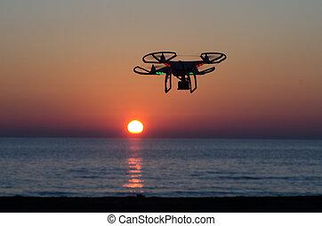 カメラ, 飛行, 空, 日没, 無人機