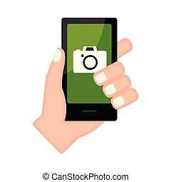 カメラ, app, smartphone, 手を持つ