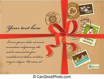 カラフルである, スタンプ, 箱, クリスマス, リボン, プレゼント, 赤