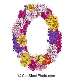 カラフルである, ゼロ, 別, アルファベット, イラスト, 花, ディジット, 作られた, flowers., 要素