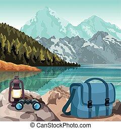 カラフルである, デザイン, 山, 袋, ランタン, 風景, 湖, 美しい, 双眼鏡
