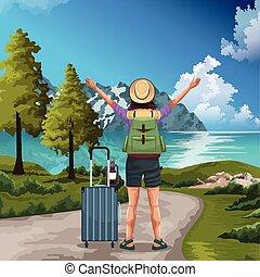 カラフルである, デザイン, 旅行者, 山, 女, 風景, 湖, 地位, 美しい