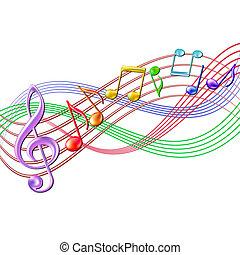 カラフルである, メモ, white., 背景, 音楽のスタッフ