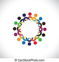 カラフルである, 共同体, 概念, 遊び, 友情, 従業員, 人々, 社会, ショー, ベクトル, &, 共用体, 多様性, 共有, icons(symbols)., 子供, 労働者, イラスト, graphic-, のように, 概念, ∥など∥