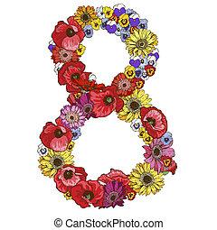カラフルである, 別, アルファベット, イラスト, 花, 8, ディジット, 作られた, flowers., 要素