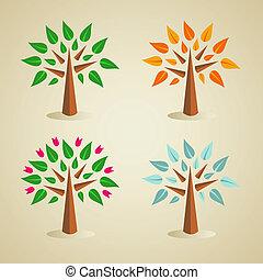 カラフルである, 季節的, 木, セット