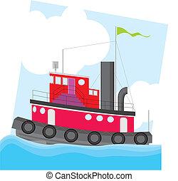 カラフルである, 引っ張りの ボート
