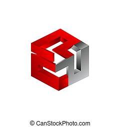 カラフルである, 形づくられた, 抽象的, 3次元である, ベクトル, 六角形, シンボル