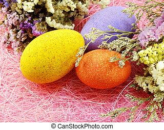 カラフルである, 春, 卵, 背景, 花, イースター